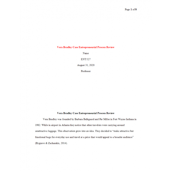 ENT 527 Week 1 Vera Bradley Case Entrepreneurial Process Review Paper: 2020