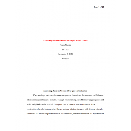 ENT 527 Week 2 Assignment, Exploring Business Success Strategies: 2020