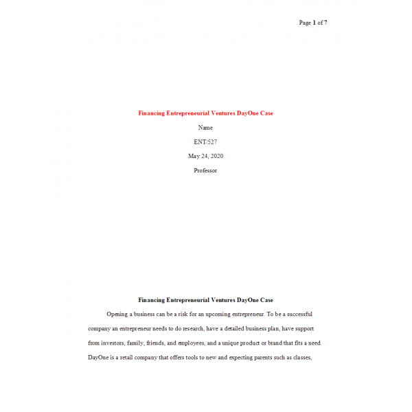 ENT 527 Week 4 Financing Entrepreneurial Ventures DayOne Case: 2020