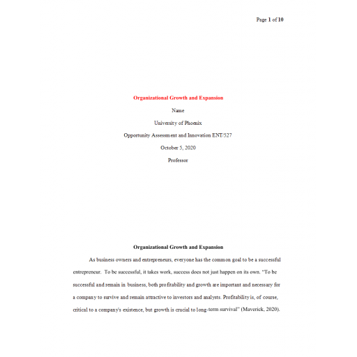 ENT 527 Week 6 Final Paper, Organizational Growth and Expansion 2: 2020