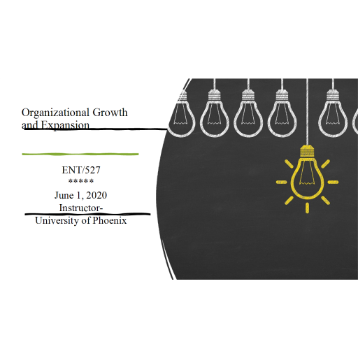 ENT 527 Week 6 Final, Organizational Growth and Expansion Powerpoint: 2020