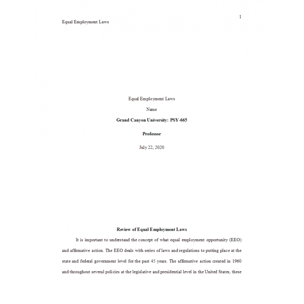 PSY 665 Week 3 Assignment, Equal Employment Laws: 2021
