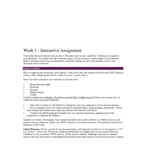 MGT 330 Week 1 Interactive Assignment