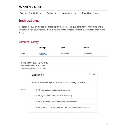 MGT 330 Week 1 Quiz
