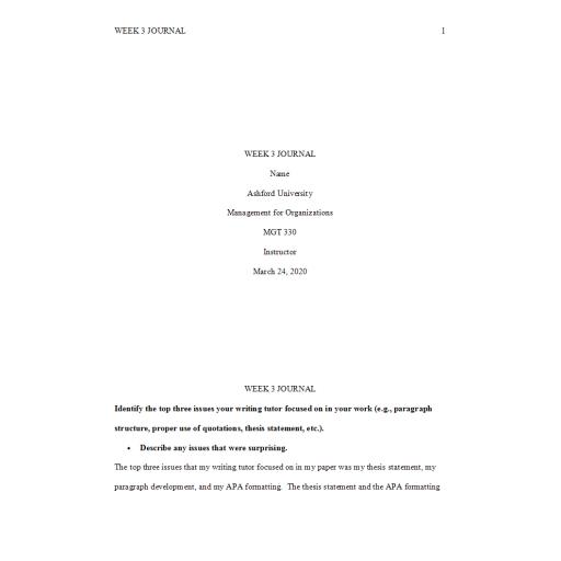 MGT 330 Week 3 Journal 2