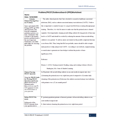 NR 439 Week 3 Assignment, Problem, PICOT, Evidence Search (PPE) Worksheet