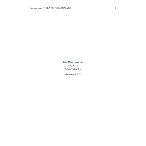 NETW 583 Week 1 Case Analysis - Telsa Motors