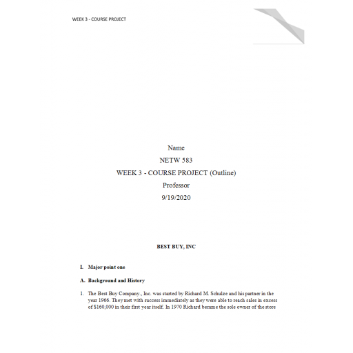 NETW 583 Week 3 Course Project Outline - Best Buy