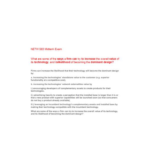NETW 583 Week 4 Midterm Exam TCO B