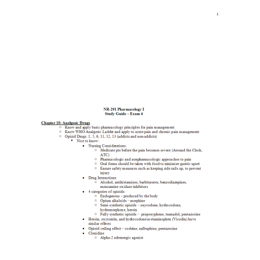 NR 291 Study Guide Exam 4