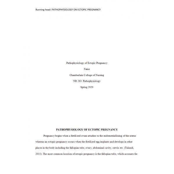 NR 283 Pathophysiology of Ectopic Pregnancy
