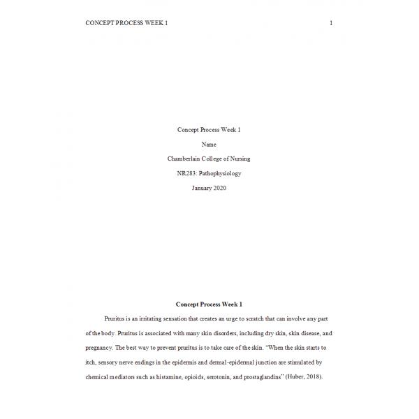 NR 283 Week 3 Concept Process Assignment 1 - Psoriasis and Pruritus