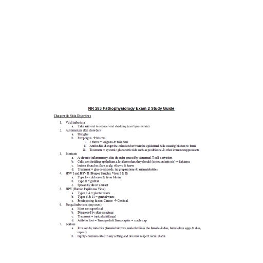 NR 283 Week 5 Pathophysiology Exam 2 Study Guide
