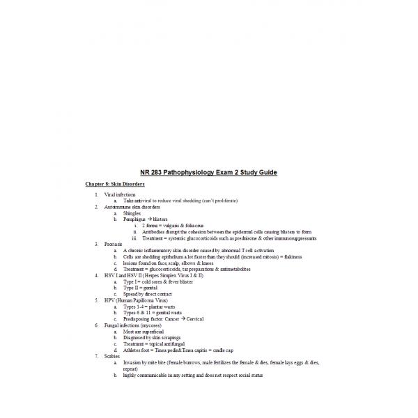 NR 283 Week 5 Pathophysiology Exam 2 Study Guide
