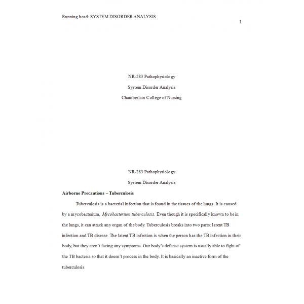 NR 283 Week 5 System Disorder Analysis