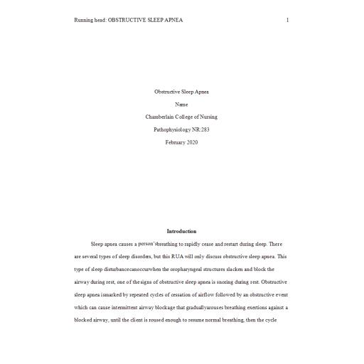 NR 283 Week 6 RUA Pathophysiology Paper - Obstructive Sleep Apnea