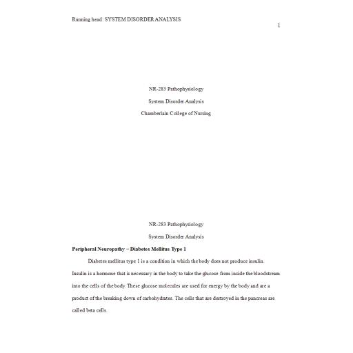 NR 283 Week 7 System Disorder Analysis