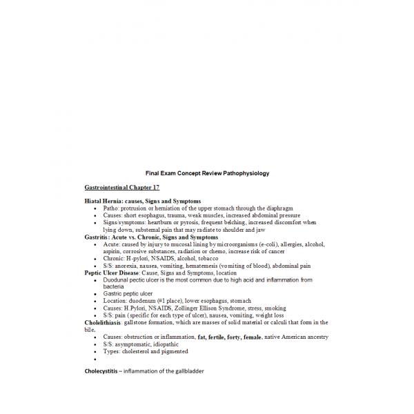 NR 283 Week 8 Final Exam Concept Review - Pathophysiology