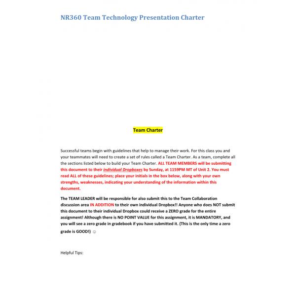 NR 360 Week 2 Assignment, Technology Presentation Team Charter