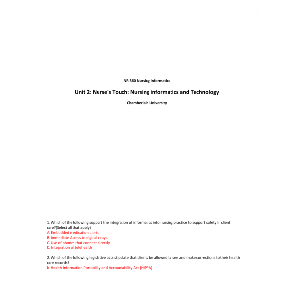 NR 360 Week 2 Assignment, Using ATI Resources; Nurse's Touch-Nursing Informatics & Technology Informatics