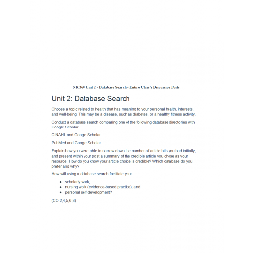 NR 360 Week 2 Discussion, Database Search