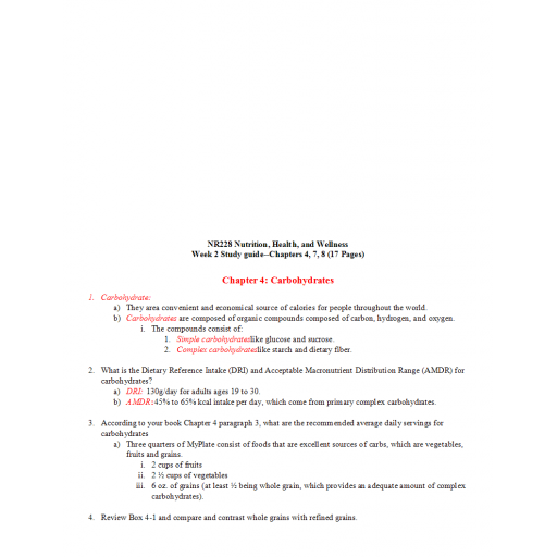 NR 228 Week 2 Study Guide Chapters 4, 7 and 8