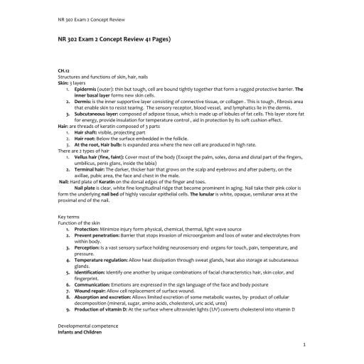NR 302 Exam 2 Concept review