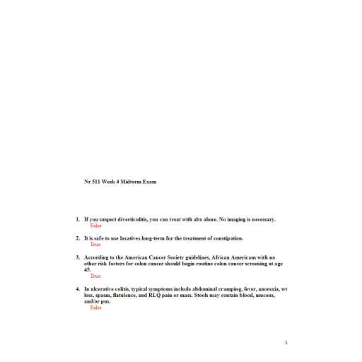 NR 511 Week 4 Midterm Exam - Possible Question and Answers
