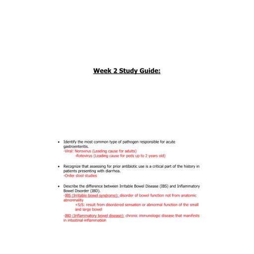 NR 511 Week 2 Study Guide