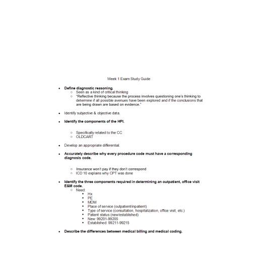 NR 511 Week 1 Exam Study Guide