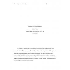 HLT 540 Week 3 Assignment 2, Assessing a Research Study - Obesity