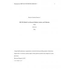 HLT 540 Week 7 Assignment 2, Broyles Textbook Exercise 7