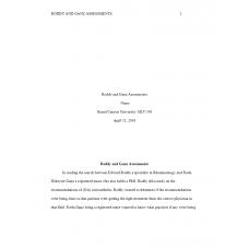 HLT 540 Week 7 Assignment 3, Roddy and Ganz Assessment