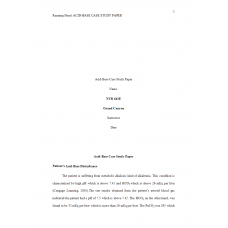 NUR 641E Week 3 Assignment Acid-Base Case Study Paper
