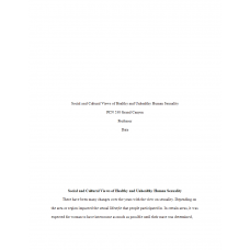 PCN 530 Week 1, Social and Cultural Views of Healthy and Unhealthy Human SexualityPaper