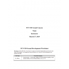 PCN 530 Week 6 Assignment, Sexual Development Worksheet