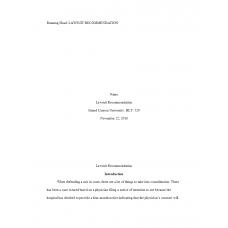 HLT 520 Week 2 Assignment, Lawsuit Recommendation Paper