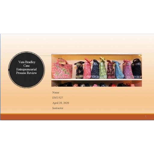 ENT 527 Week 1 Vera Bradley Case Entrepreneurial Process Review Presentation