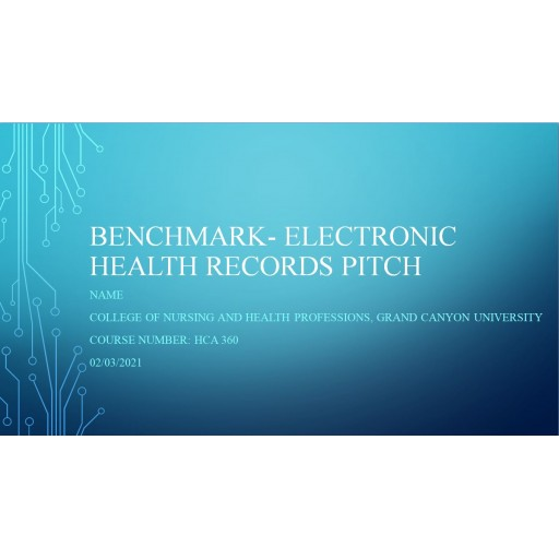 HCA 360 Benchmark, Electronic Health Records Pitch