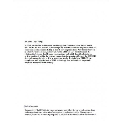 HCA 360 Topic 3 DQ 2: 2021