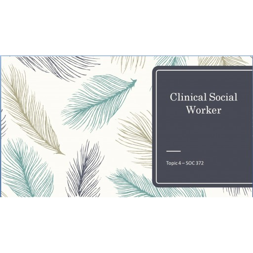 SOC 372 Topic 4 Assignment, Clinical Social Worker and Communities