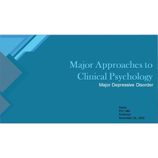 PSY 480 Week 2 Individual Assignment, Major Approaches to Clinical Psychology